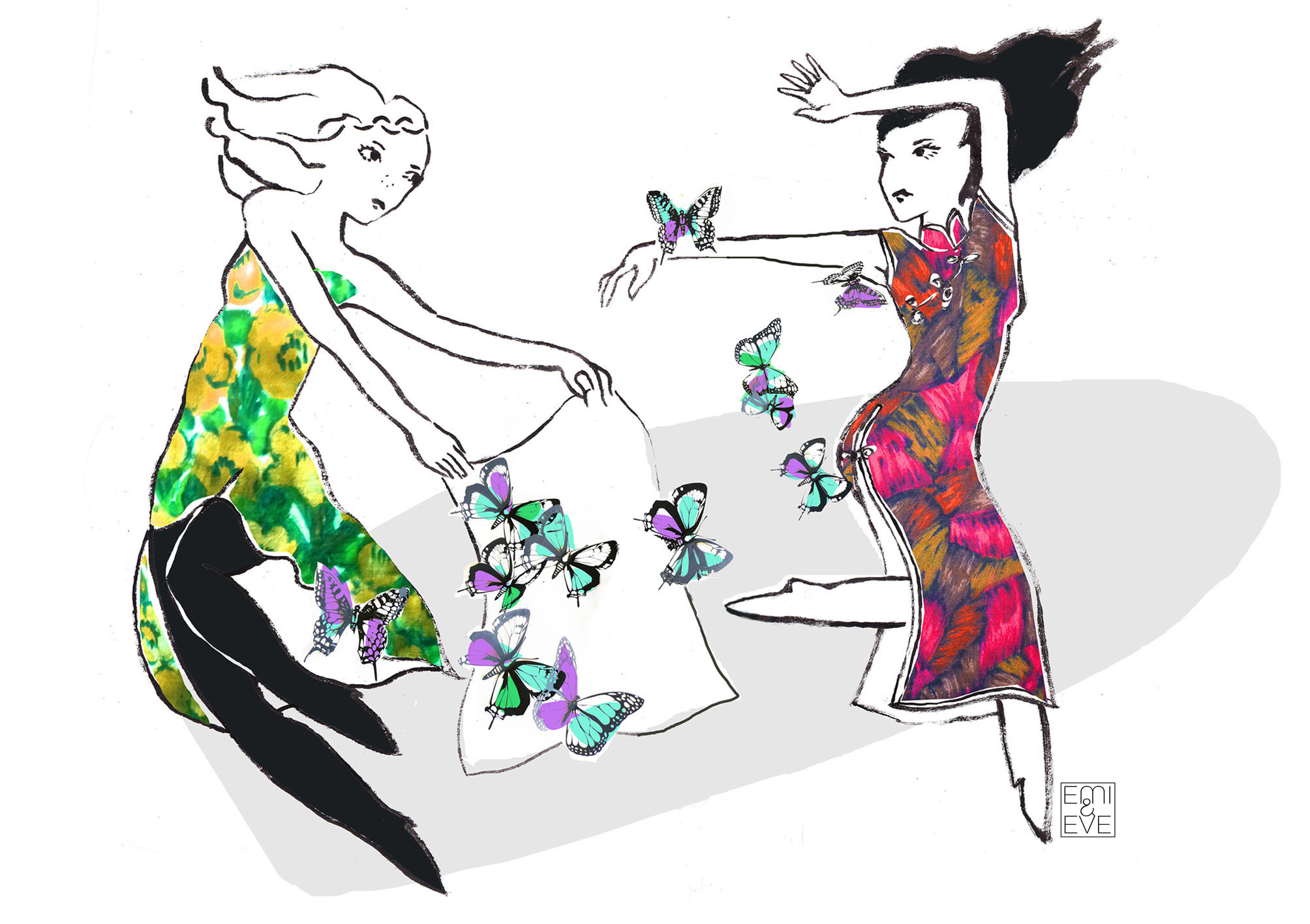 Emi & Eve illustration dancing