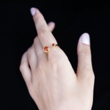 hand with orange stone ring